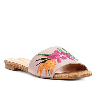 Rasteira Shoestock Slide Bordado Floral