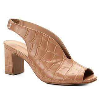 cbbafd6192 Sandália Couro Shoestock Croco Slingback Feminina