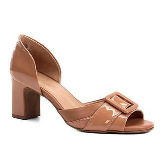 7b4e108bab Peep Toe Shoestock Verniz Fivela