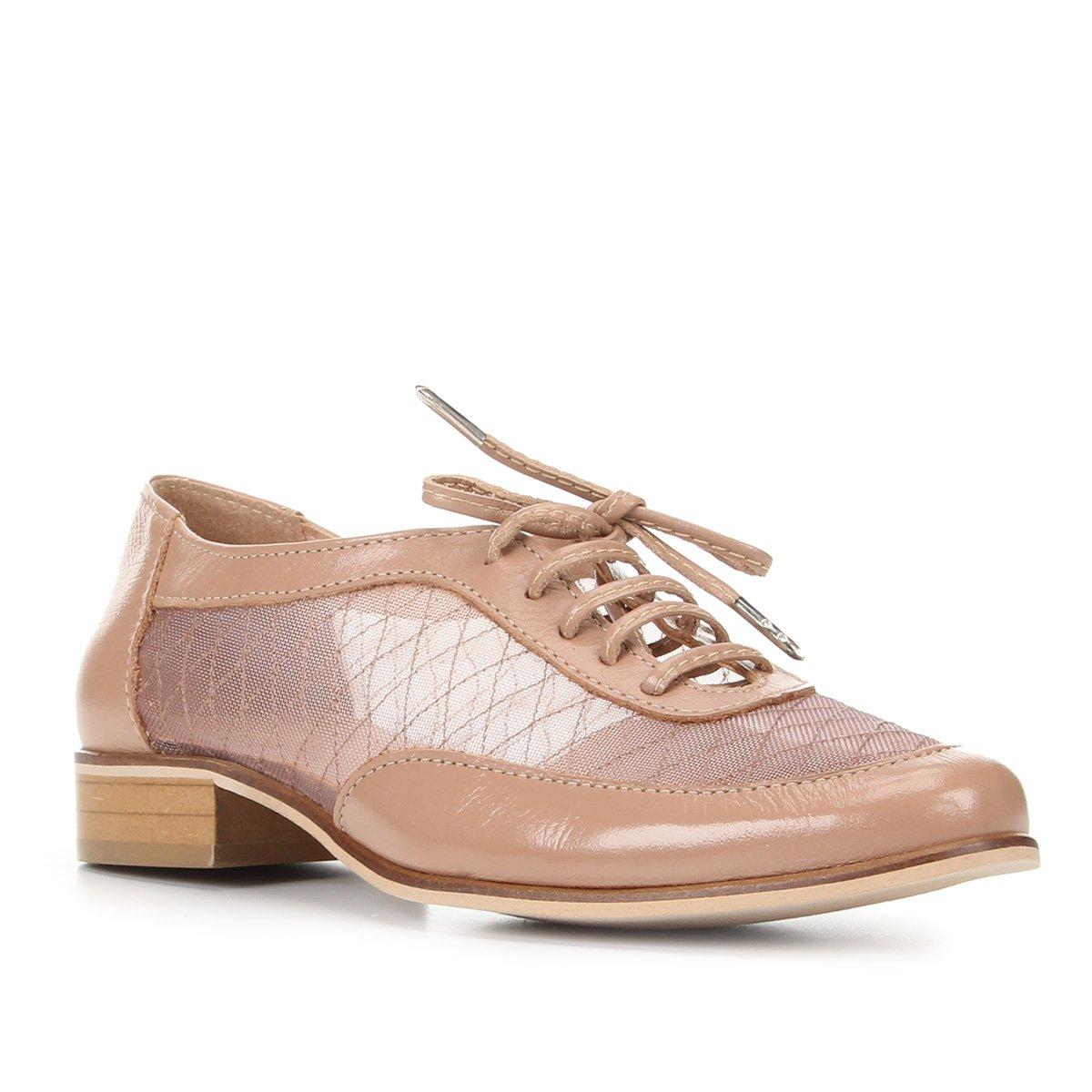 Oxford Couro Shoestock Tela Bordada Feminino