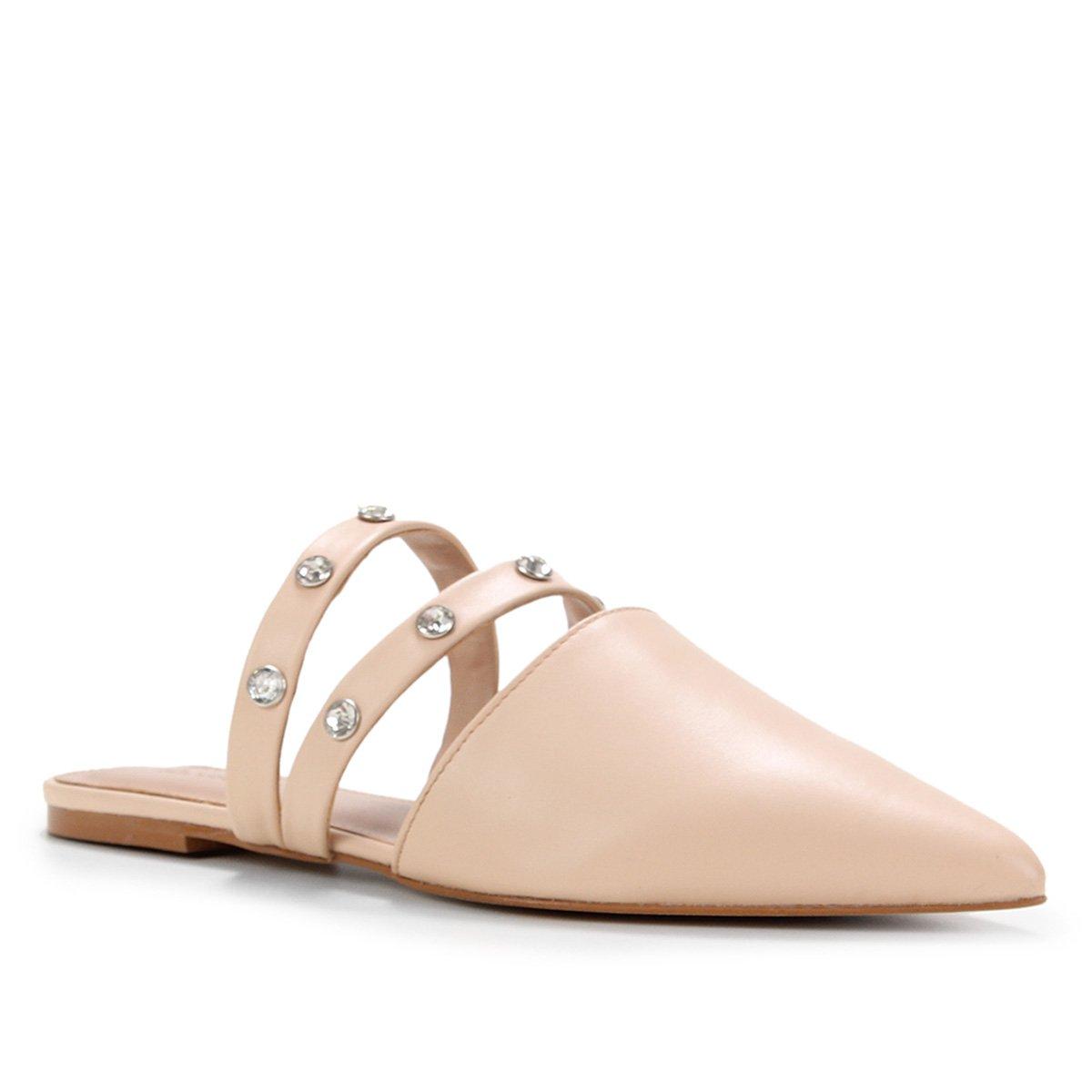 Mule Couro Shoestock Flat Bico Fino Strass