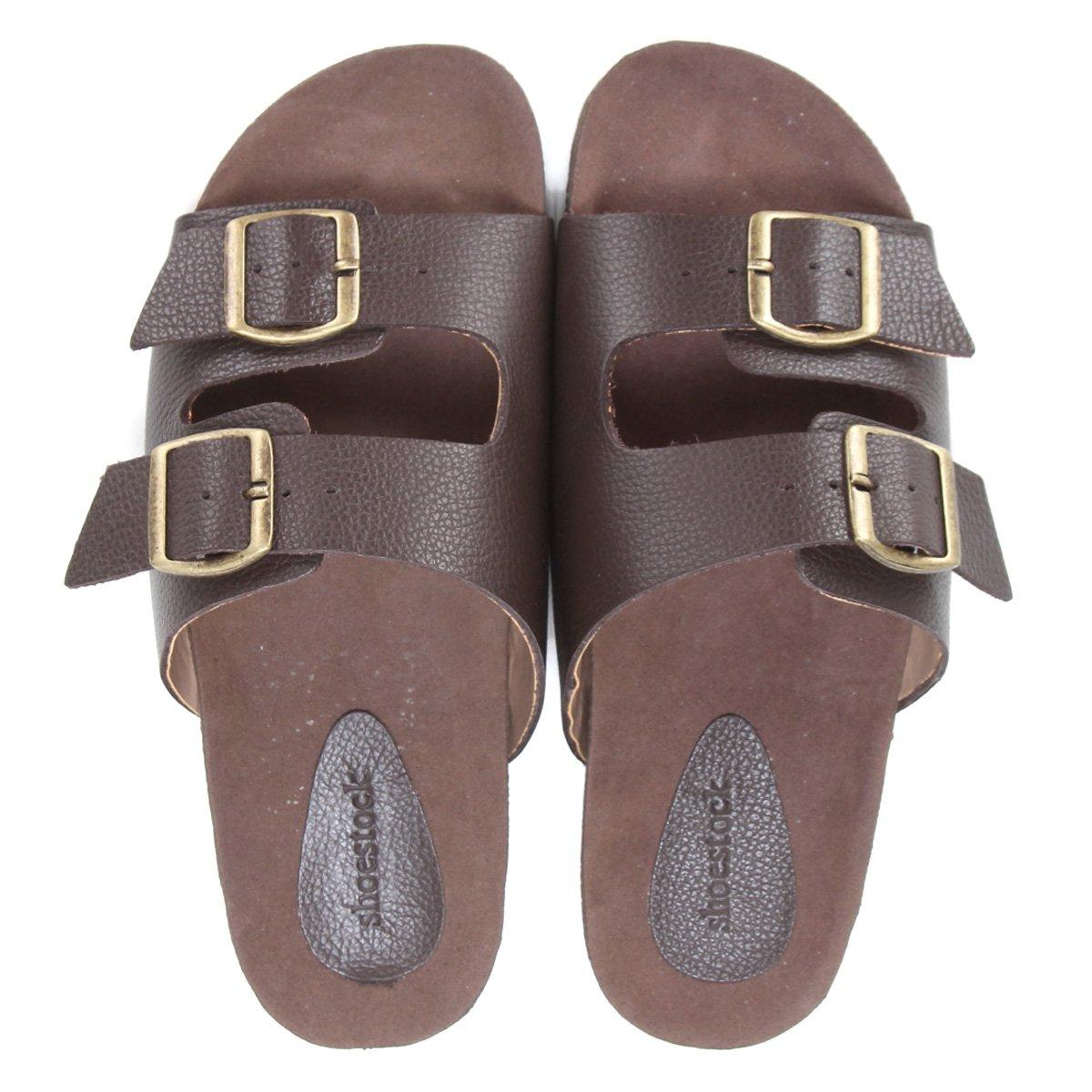 Chinelo Couro Shoestock Slide Fivela Masculino