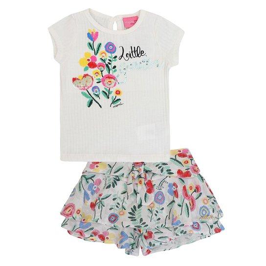 Conjunto Infantil Blusa Short Little Garden Momi Feminino - Compre ... bc63eaf144