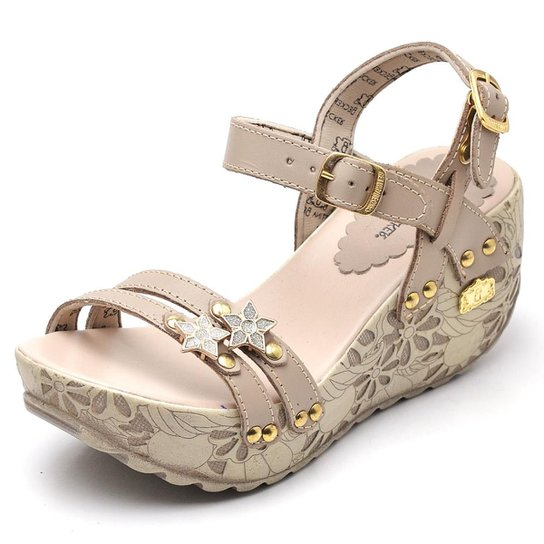 0a647fbb73 Sandalia Top Franca Shoes Betina Beker Plataforma Anabela Feminina - Bege