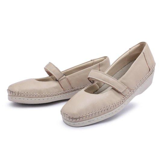 cbc9d4ca8f Sapato Conforto Couro Top Franca Shoes Feminino - Bege