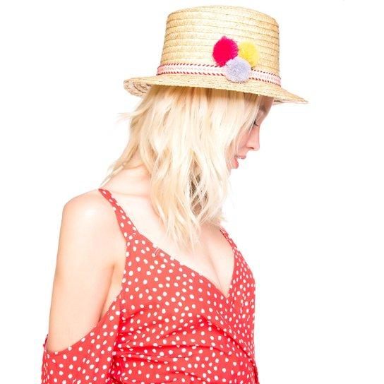 Chapéu AMARO De Palha Pompons - Bege - Compre Agora  95897820e8c