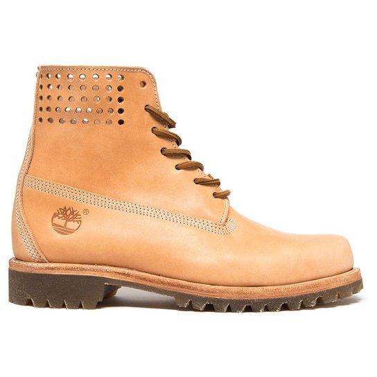 7e4c1f7eb00 Bota Timberland Yellow Boot 6   Premium Perf Collar Masculina - Bege