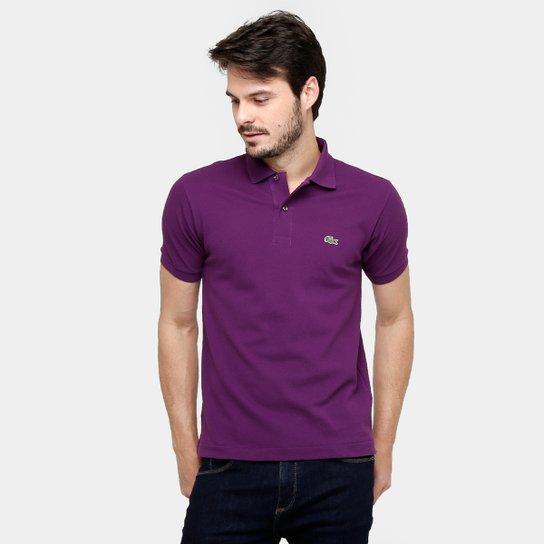 Camisa Polo Lacoste Original Fit Masculina - Roxo e Branco - Compre ... c7c27ebc9eaaa