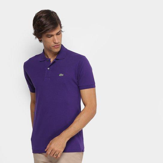 22143e3cf8 Camisa Polo Lacoste Piquet Original Masculina - Roxo e Branco ...