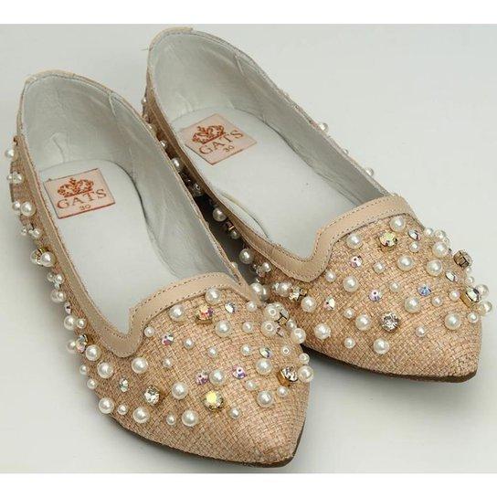 6a1df3fb77 Sapato Bordado Perola E Cristal - Bege - Compre Agora