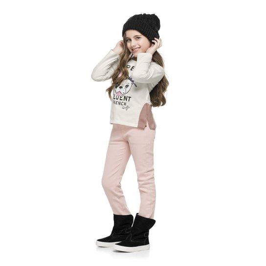 Blusa Infantil Meia Malha Quimby Feminina - Bege - Compre Agora ... 4e371f85a17