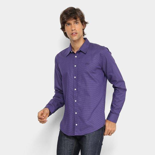 Camisa Colcci Slim Manga Longa Masculina - Roxo e Branco - Compre ... 1a4a00a170e