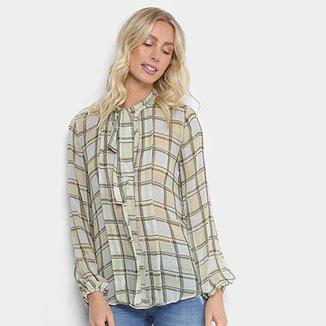 f4706e68c8 Camisa Forum Estampada Quadriculada Manga Longa Feminina