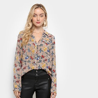 6711fc8044 Camisa Manga Longa Lily Fashion Floral Feminina