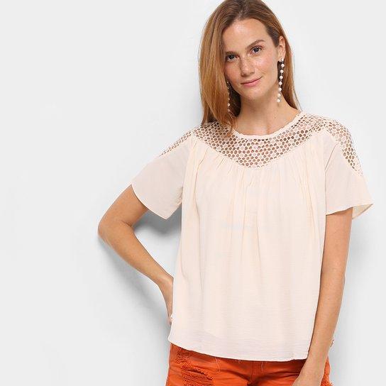 c7d37ef41 Blusa Top Moda Vazada Feminina - Bege