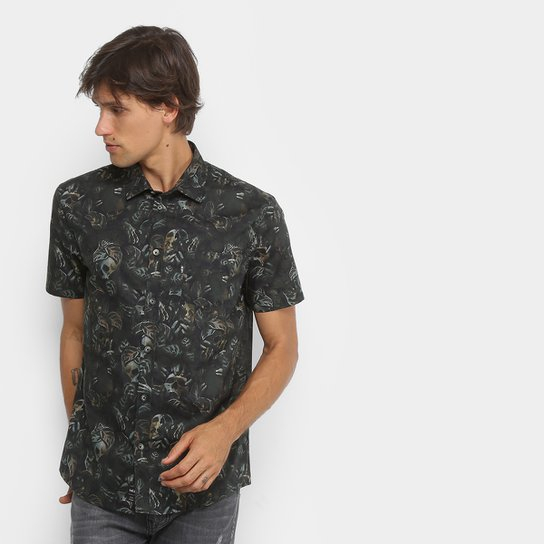 Camisa MCD Manga Curta Estampada Masculina - Bege - Compre Agora ... 945d9d9e839