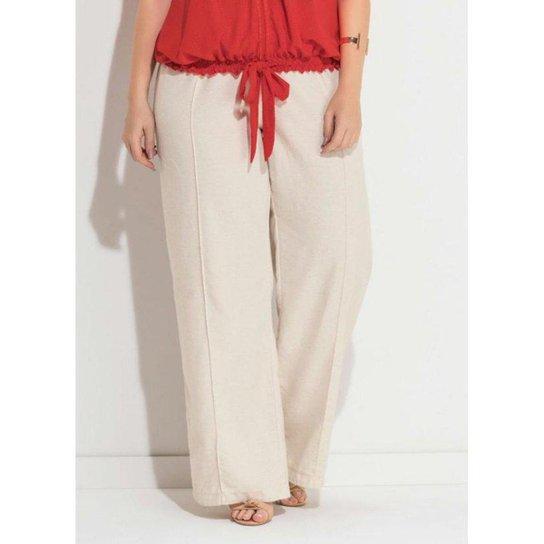 95255eba09 Calça Pantalona Plus Size de Linho Quintess Feminina - Compre Agora ...