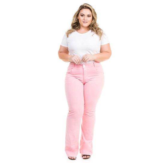 256f2c5ea Calça Confidencial Extra Plus Size Flare Jeans Color Feminina - Ouro Rosa.  Loading.