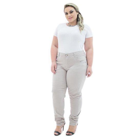 99d190580 Calça Confidencial Extra Jeans Cigarrete Munich Plus Size Feminina - Bege