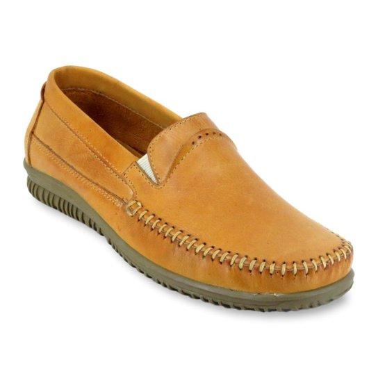 f6f85d1291 Sapato Mocassim Masculino Casual Enviamix em Couro - Bege - Compre ...