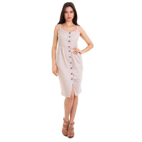 b2ff7446f Vestido Linho Botões Frontal Feminina | Zattini