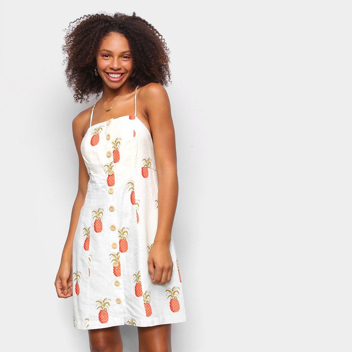 Vestido Curto Farm Abacaxi Solar Feminino
