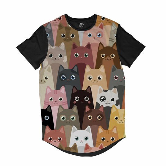Camiseta Bsc Longline Desenhos De Gatinhos Sublimada Masculina