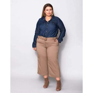 da95caa45 Calça Pantacourt Plus Size Berna Palank Feminina