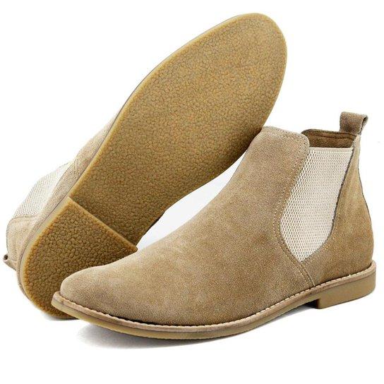 48834b35d Bota Chelsea Camurça Escrete Boots Fechamento Em Elástico Masculina - Bege
