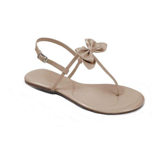 9f31b784d7 Rasteira Mercedita Shoes Verniz Laço Feminina - Bege - Compre Agora ...