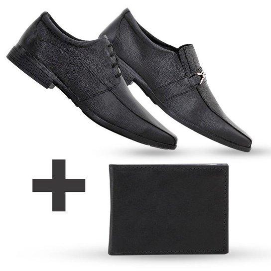 f42d51889 Kit Carteira + 2 Sapatos Social Masculino Em Couro Top Flex - Preto+Grafite
