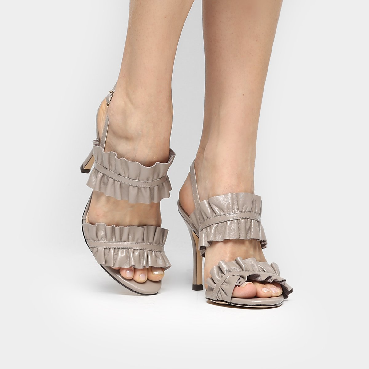 d5241d134b Sandália Couro Shoestock Salto Fino Babado Feminina