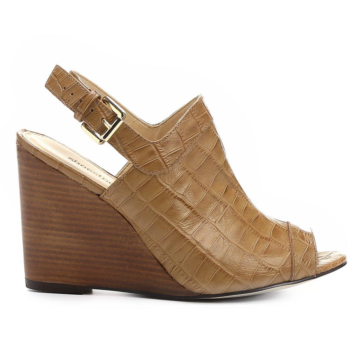 5f7b95d6f1 Sandália Anabela Couro Shoestock Abotinada Feminina