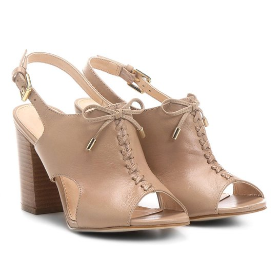 84f6282633 Sandália Couro Shoestock Salto Grosso Trançada Feminina - Compre ...