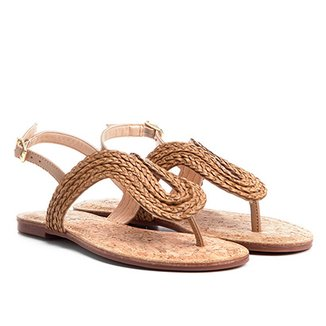f7c834be7d Rasteiras Shoestock Feminino Bege   Zattini
