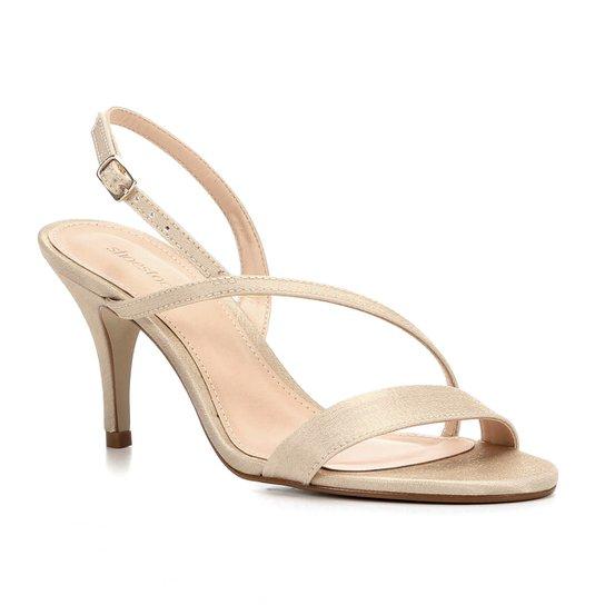 26f33de371 Sandália Shoestock Salto Fino Cetim Feminina - Bege - Compre Agora ...