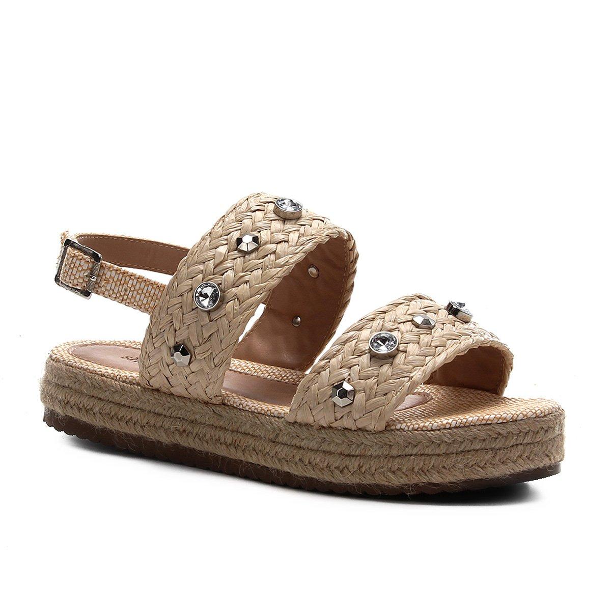 Sandália Shoestock Flatform Trança e Pedras Feminina