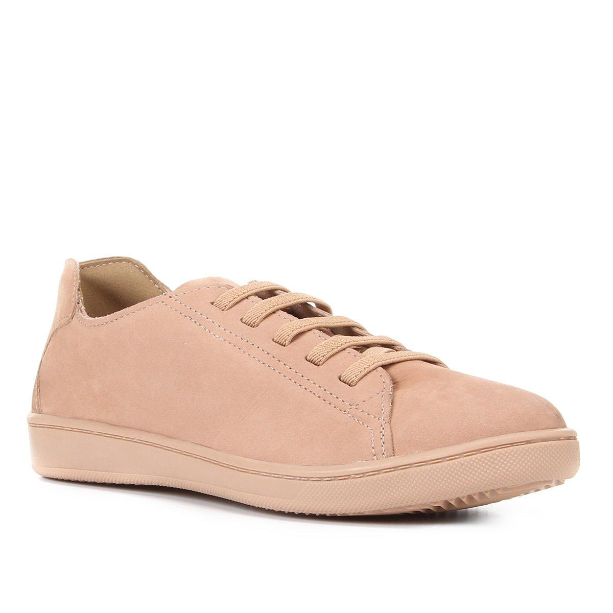 Tênis Couro Shoestock Nobuck Comfort Elástico Feminino