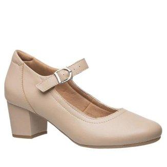 fe95cffe27 Scarpin Couro Ostra Doctor Shoes Salto Grosso Feminino