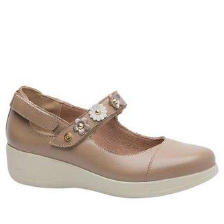 fbab0b8ef Sapato Conforto Doctor Shoes Couro Amendoa com Flor Feminino