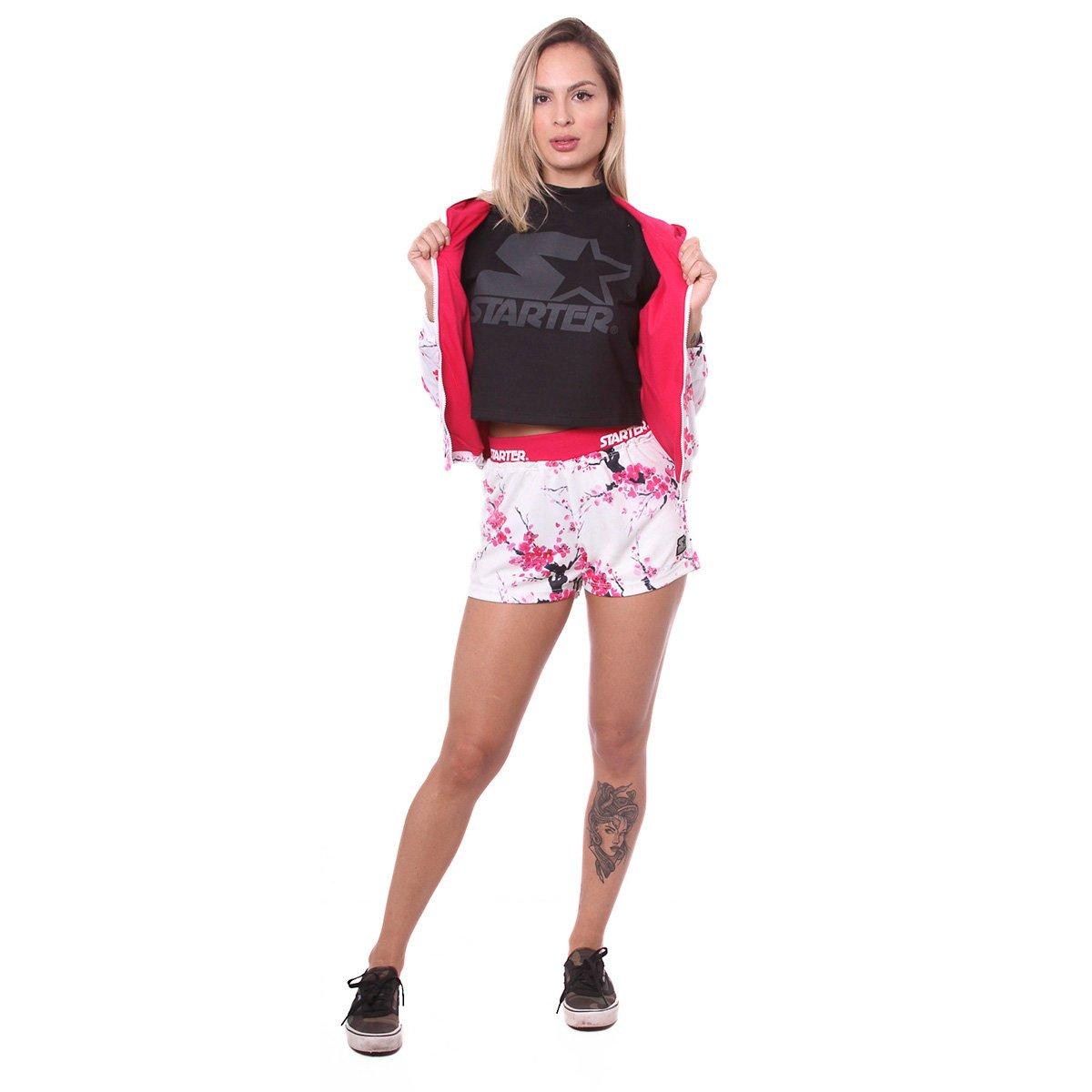Jaqueta Starter Bomber Patch Floral Feminina
