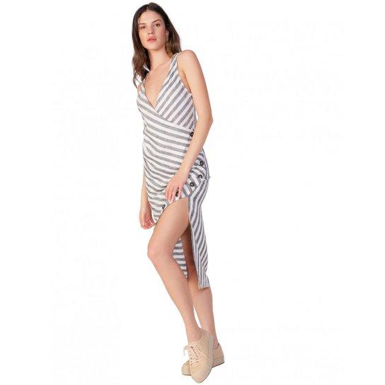 006c716e1 Vestido Amaro Midi De Linho Com Botões - Off White | Zattini