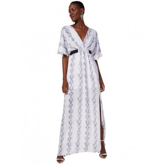 19c8718533 Vestido Amaro Longo Estampado Com Faixa - Off White