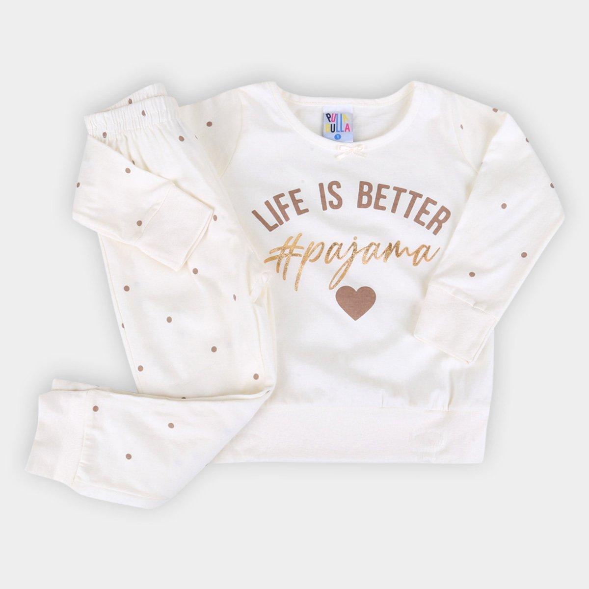 Pijama Longo Bebê Pulla Bulla Poá Feminino