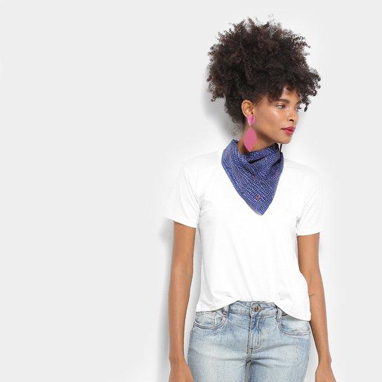 de66e78f01 Camiseta T-Shirt Aura Manga Curta Com Lenço Feminina - Off White ...