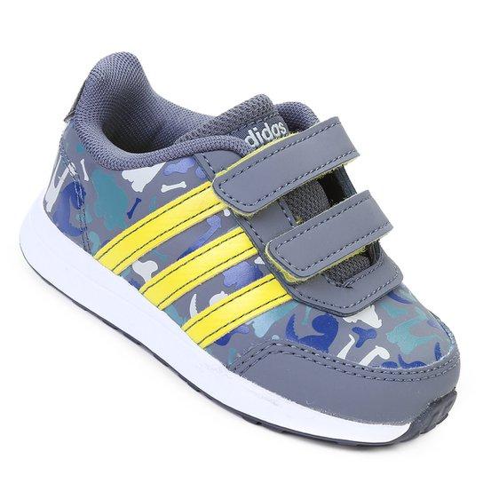 b838e14910719 Tênis Infantil Adidas Vs Switch 2 Cmf Feminino - Cinza e Amarelo ...