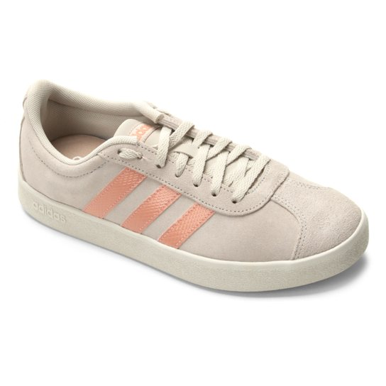 4144db81cd6 Tênis Adidas Vl Court 2.0 Feminino - Branco e Pink - Compre Agora ...