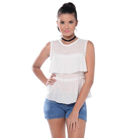 b678f79b27efa Blusa Teen Regata com Renda - Off White - Compre Agora   Zattini