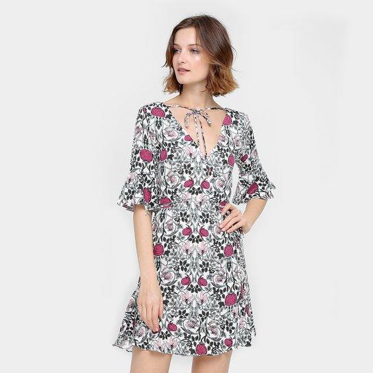 a6bd98c363 Vestido Maria Filó Curto Babados e Amarração - Compre Agora