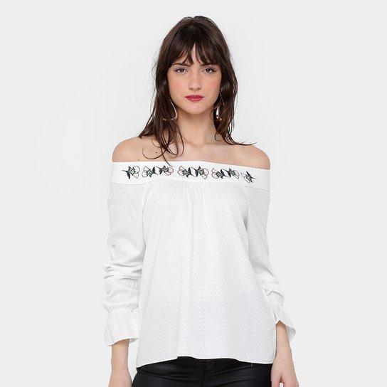 d1c41c54bb Blusa Maria Filó Ombro a Ombro Bordada Feminina - Off White